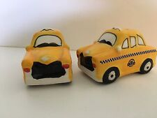 YELLOW TAXI CABS CERAMIC SALT & PEPPER SHAKERS AMERICAN ATELIER CHECKERED NY