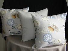 BEACH SEA SHELLS GULLS NAUTICAL COASTAL CHIC CUSHION COVERS 45CM AU MADE