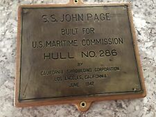 S.S. John Page Brass Hull Plaque