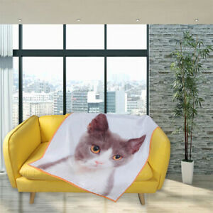 Custom Photo Blanket Cat Picture Personalise Bed Sofa Throw Plush Flannel Fleece