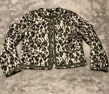 J Crew Quilted Lady Jacket Women's Size Medium Autumn Cheetah Olive Brown