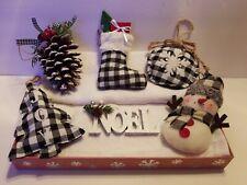CHRISTMAS BLACK BUFFALO CHECK ORNAMENTS~SET OF 6