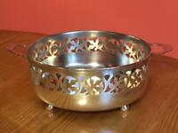 Vintage EPNS Silver Plated Fretted Round Fruit Bowl with Handles Leaf Design