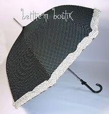 Goth : Parapluie Cloche & Canne NOIR à Pois Blanc Noeud Manga Lolita Gothique