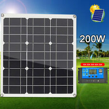 200W 12V Monocrystalline Solar Panel Charge Controller w/Dual USB for Camping