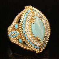 925 Sterling Silver Handmade Gemstone Turkish Quartz Ladies Ring Size 7-12