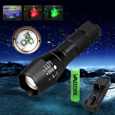 Hunting Zoomable Red/Green/Blue Light LED Flashlight Coyote Fox Predator Torch