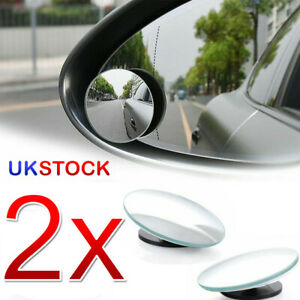 2x Blind Spot Car Mirror Rimless Frameless Glass Wide Angle Convex Mirrors