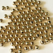 14K Solid Yellow Gold Beads 3 MM- Pack 100 Pieces