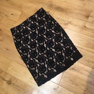 Marks & Spencer Black Lace Pencil Skirt Size 14