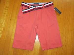 NEW Tommy Hilfiger Boy's Sangria Red Bermuda Belted Shorts 16 years NWT