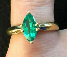 Gold Sterling Silver Ring Lab Emerald Marquise Solitaire 1 Carat Sz 5 2g #1187
