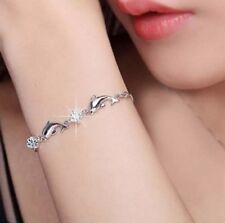 Delfin Armband 925 Sterling Silber plattiert Strass Stein Kristall Delphine P159