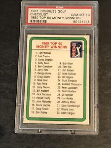 1981 Donruss Golf Money Winners Checklist PSA 10 GEM MINT (Pop 38) Set Break