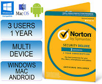 Norton Internet Security 3.0 Deluxe Multi Device 3 Users 1 Year Antivirus 2017