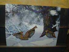 VINTAGE LASSELL RIPLEY GROUSE WINTER SCENE FOREST LITHOGRAPH PRINT 16 X 20
