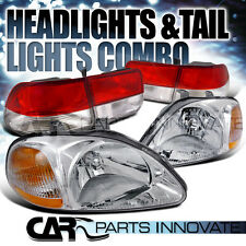 Fit 96-98 Civic 2Dr Coupe JDM Crystal Chrome Headlights+Red/Clear Tail Lamps