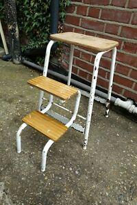 Vintage Folding Step Stool Kitchen Garage Shop Metal Wood  - White Distressed