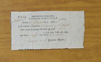ANTICO DOCUMENTO REPUBBLICA ITALIANA GUARDIA NAZIONALE FERRARA 1803 SUBALPINA