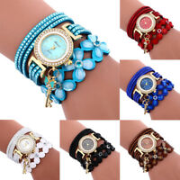 Womens Quartz Crystal Fashion Wrist Watch Rhinstone LadyLeather Bracelet Pendant