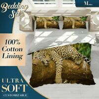 Leopard Jaguar Wild Animal Brown Duvet Cover Sets with Zipper And Pillowcase