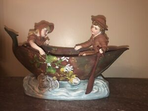 """Antique French Vion & Baury Jean Gille Sculpture""""Young Couple Sailing at Sea"""""""