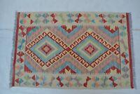 3'10 x 2'6 Handwoven Afghan Kilim Wool Tribal Carpet Kelim Area Rug Tapis #8640