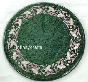 12 Inch Marble Coffee Table Top Floral Design at Border Bed Side Table for Room