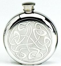 Pewter 6oz Round Embossed Celtic Pattern Hip Flask