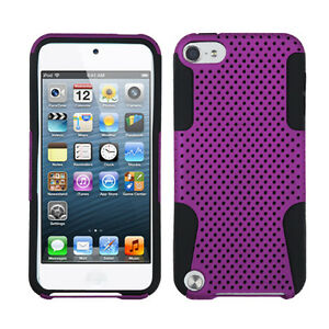 For iPod Touch 5 5th gen MESH Hybrid Silicone Rubber Skin Case Cover Purple