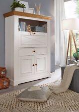 Sekretär Kiefer massiv, 111x152x43 cm, weiß, Struktur, Wohnzimmer Möbel
