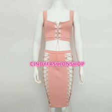 Women Hollow Out Bandage Summer Sleeveless Lace UP 2 PC Set Sexy Body con Dress