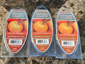 NEW YANKEE CANDLE SPICED PUMPKIN WAX MELTS 2.6 OZ - LOT OF 3 PACKAGES