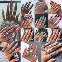 Retro 12Pcs/ Set Silver Gold Boho Arrow Moon Flower Midi Finger Knuckle Rings