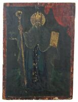"""Antique 19th C Hand Painted Christian Icon on Board Saint Patrick Wood Panel 13"""""""