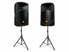 "2x New Behringer B115W 15"" 2-Way Wireless Powered Speakers 1000 Watts + Stands"