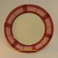 Hartstone Pottery Pink Plaid HRT15 Salad Luncheon Plate Green Accent Lines USA