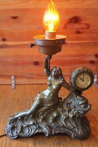 Antique Nude Woman Sea Creature Lamp & New Haven Clock Spelter or Bronze Vintage
