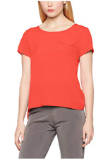 FRENCH CONNECTION Classic Crepe Light Short Sleeve Round-Neck Pocket top size M
