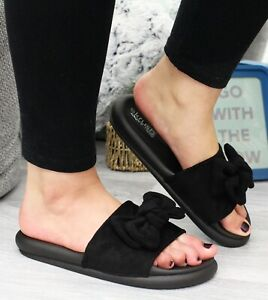 Bow Sliders Summer Beach Sandals Womens Flats Ladies Slip On Fashion Shoes Size