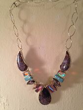 Large Sterling Silver necklace with colored stones and faux gems 20""