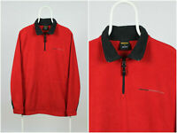 Mens Vintage 90s Nautica Fleece Pullover 1/2 Zip Sweater Red Size M