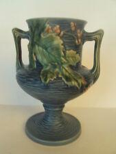 Vintage Original Roseville Pottery Bushberry Blue Vase 157-8.