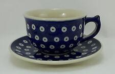 Bunzlauer Keramik Tasse mit Unterteller (F036-70A) Pünktchen, blau/weiß 0,3Liter