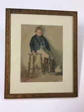 "Signed Watercolor Civil War Era ""Boy In Uniform"" Nice Frame"