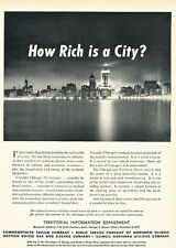 1949 Chicago Night Skyline  Vintage Advertisement Print Ad J519