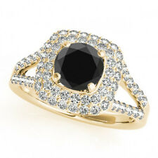 2.68 Cts Huge Black & White Diamonds Solitaire 14k YG Halo Wedding Band Ring