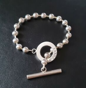 """Gucci 925 Sterling Silver 7"""" 18cm Ball Chain Logo Toggle Chunky Bracelet"""