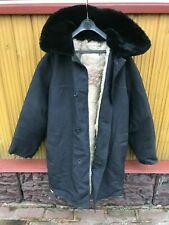 Russian Army Winter Fur Coat PARKA Shearling Sheepskin BLACK canvas size 52***