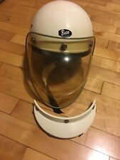 Buco Half Helmet Vintage White with Visor and Tinted Bubble Shield